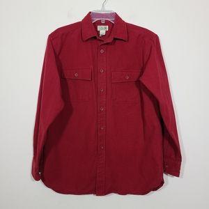 L.L. Bean  Mens Button Down Red Shirt Size M